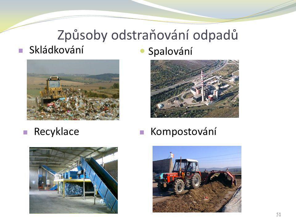 Způsoby odstraňování odpadů  Spalování  Skládkování  Kompostování  Recyklace 51