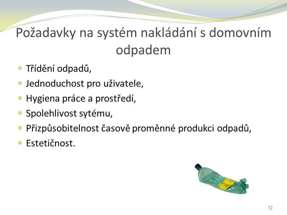 Požadavky na systém nakládání s domovním odpadem  Třídění odpadů,  Jednoduchost pro uživatele,  Hygiena práce a prostředí,  Spolehlivost sytému, 