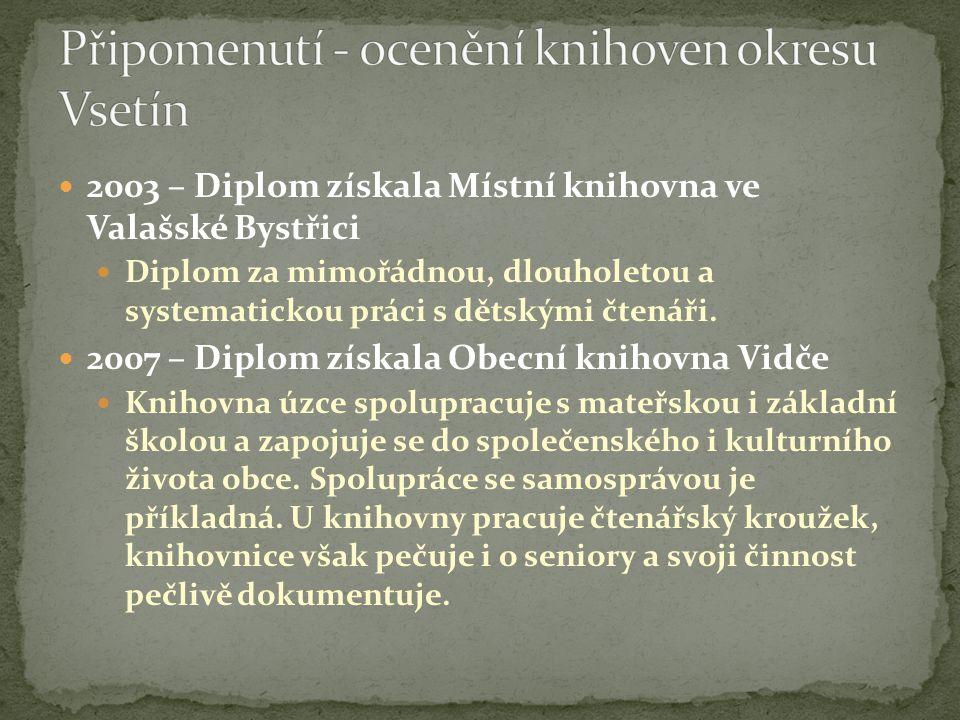  2003 – Diplom získala Místní knihovna ve Valašské Bystřici  Diplom za mimořádnou, dlouholetou a systematickou práci s dětskými čtenáři.