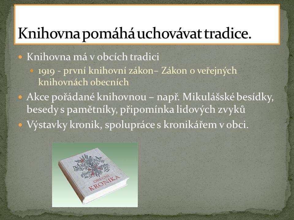  Knihovna má v obcích tradici  1919 - první knihovní zákon– Zákon o veřejných knihovnách obecních  Akce pořádané knihovnou – např.