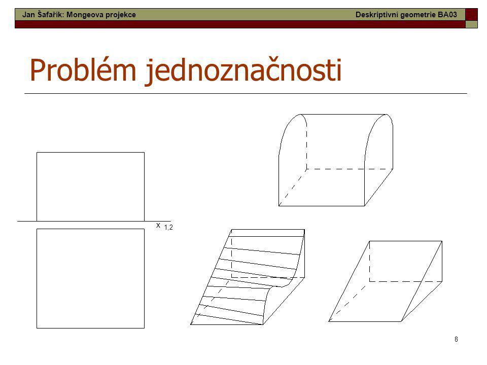8 Problém jednoznačnosti x 1,2 Jan Šafařík: Mongeova projekceDeskriptivní geometrie BA03