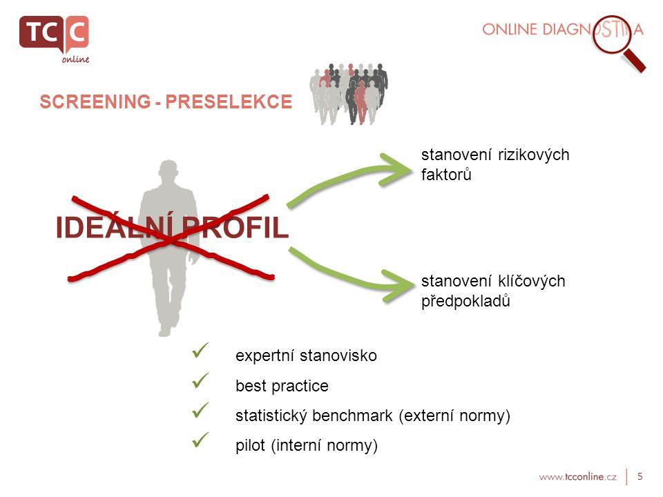 5 SCREENING - PRESELEKCE IDEÁLNÍ PROFIL stanovení rizikových faktorů stanovení klíčových předpokladů  expertní stanovisko  best practice  statistický benchmark (externí normy)  pilot (interní normy)
