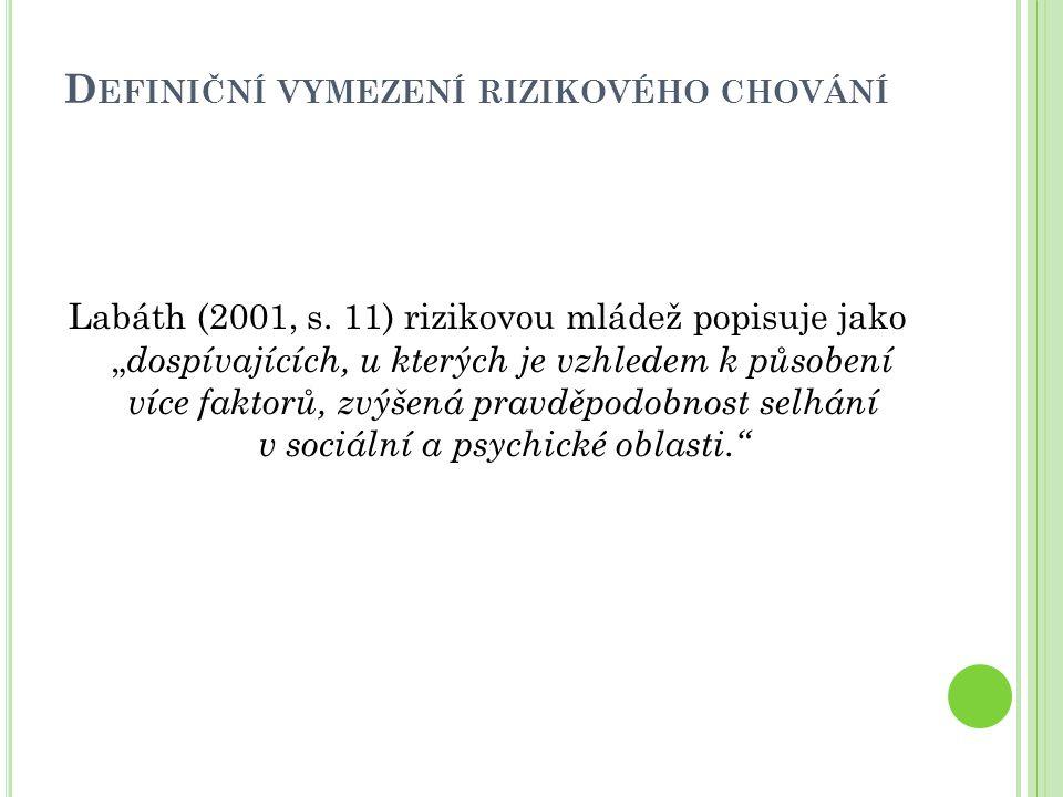 D EFINIČNÍ VYMEZENÍ RIZIKOVÉHO CHOVÁNÍ Miovský a Zapletalová (2006, s.