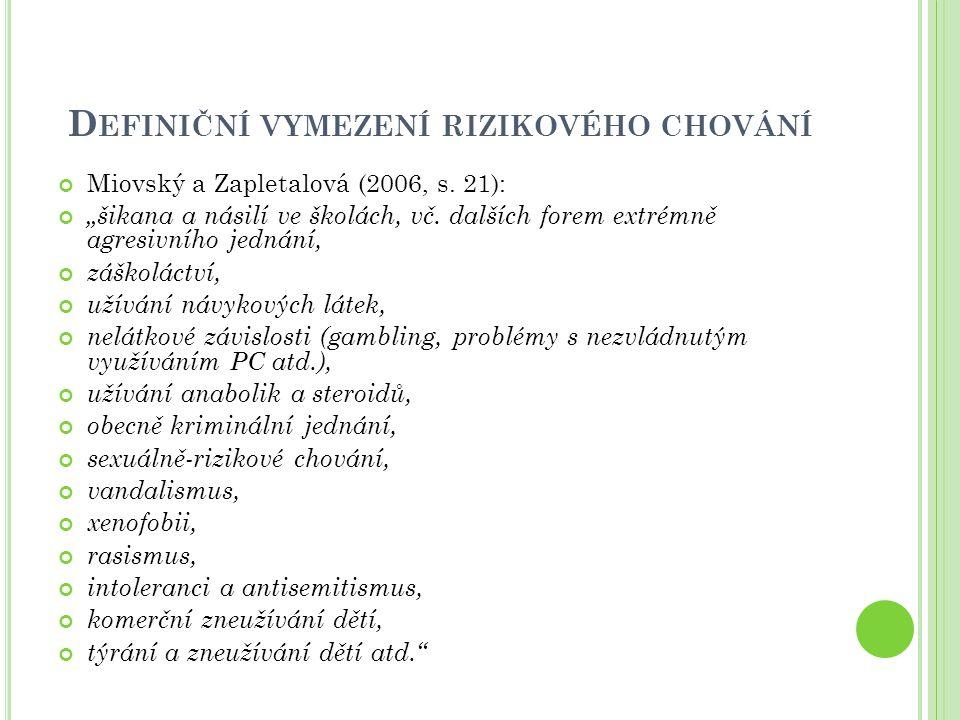 """D EFINIČNÍ VYMEZENÍ RIZIKOVÉHO CHOVÁNÍ Miovský a Zapletalová (2006, s. 21): """"šikana a násilí ve školách, vč. dalších forem extrémně agresivního jednán"""