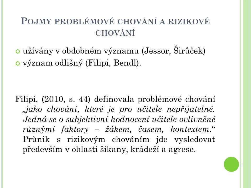 P OJMY PROBLÉMOVÉ CHOVÁNÍ A RIZIKOVÉ CHOVÁNÍ užívány v obdobném významu (Jessor, Širůček) význam odlišný (Filipi, Bendl). Filipi, (2010, s. 44) defino