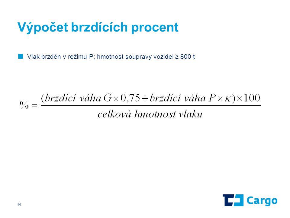 Výpočet brzdících procent ■ Vlak brzděn v režimu P; hmotnost soupravy vozidel ≥ 800 t 14