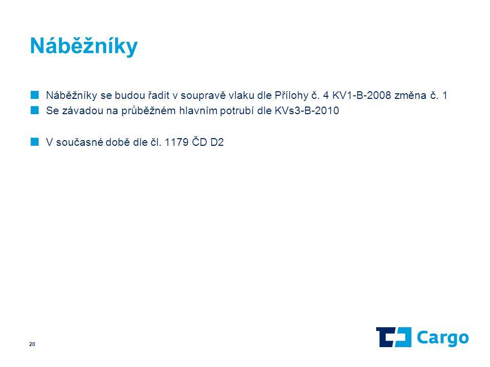 Náběžníky ■ Náběžníky se budou řadit v soupravě vlaku dle Přílohy č. 4 KV1-B-2008 změna č. 1 ■ Se závadou na průběžném hlavním potrubí dle KVs3-B-2010