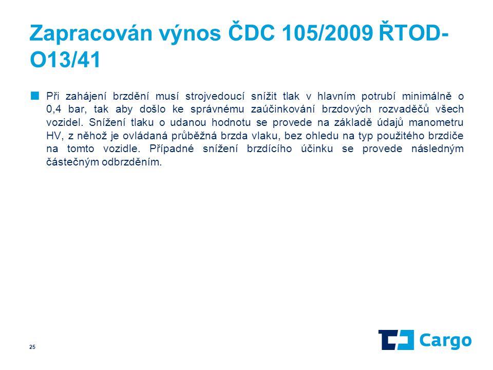 Zapracován výnos ČDC 105/2009 ŘTOD- O13/41 ■ Při zahájení brzdění musí strojvedoucí snížit tlak v hlavním potrubí minimálně o 0,4 bar, tak aby došlo k