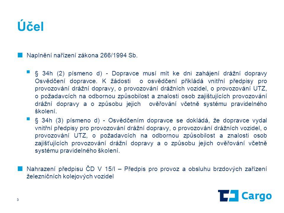 Účel ■ Naplnění nařízení zákona 266/1994 Sb.  § 34h (2) písmeno d) - Dopravce musí mít ke dni zahájení drážní dopravy Osvědčení dopravce. K žádosti o