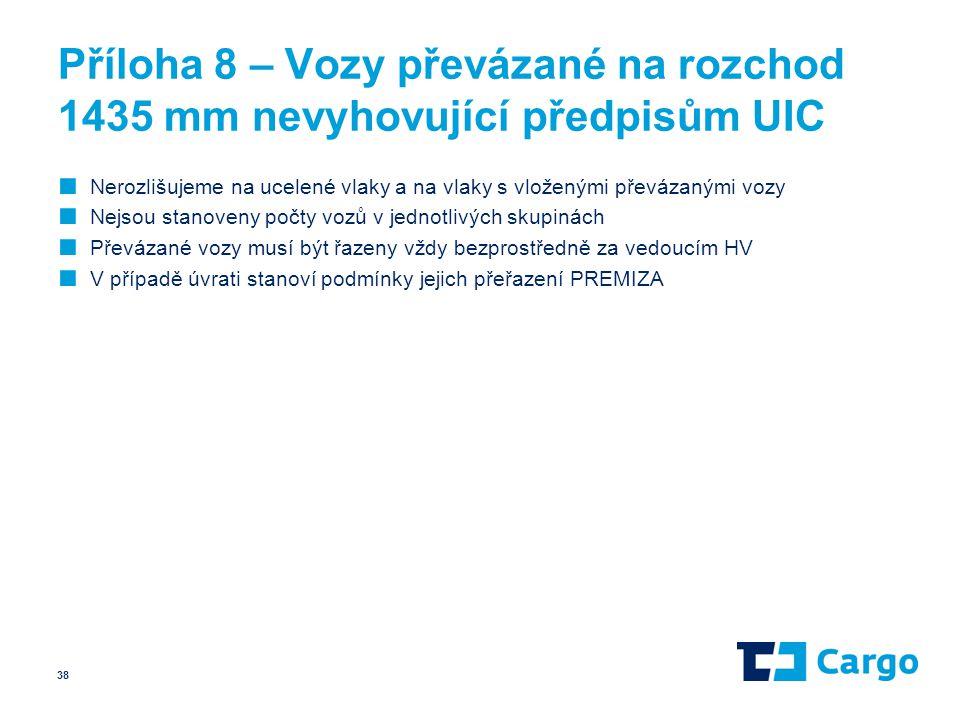 Příloha 8 – Vozy převázané na rozchod 1435 mm nevyhovující předpisům UIC ■ Nerozlišujeme na ucelené vlaky a na vlaky s vloženými převázanými vozy ■ Ne