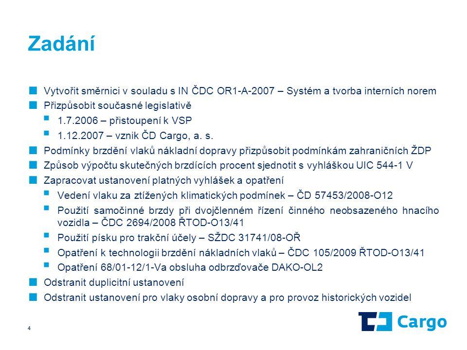 Zadání ■ Vytvořit směrnici v souladu s IN ČDC OR1-A-2007 – Systém a tvorba interních norem ■ Přizpůsobit současné legislativě  1.7.2006 – přistoupení