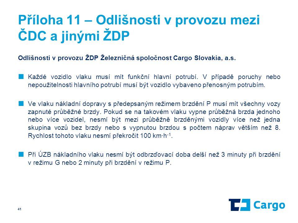 Příloha 11 – Odlišnosti v provozu mezi ČDC a jinými ŽDP Odlišnosti v provozu ŽDP Železničná spoločnost Cargo Slovakia, a.s. ■ Každé vozidlo vlaku musí
