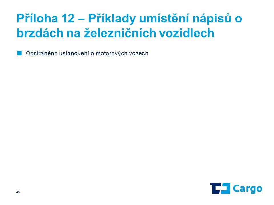 Příloha 12 – Příklady umístění nápisů o brzdách na železničních vozidlech ■ Odstraněno ustanovení o motorových vozech 45