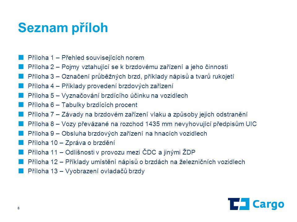 Seznam příloh ■ Příloha 1 – Přehled souvisejících norem ■ Příloha 2 – Pojmy vztahující se k brzdovému zařízení a jeho činnosti ■ Příloha 3 – Označení