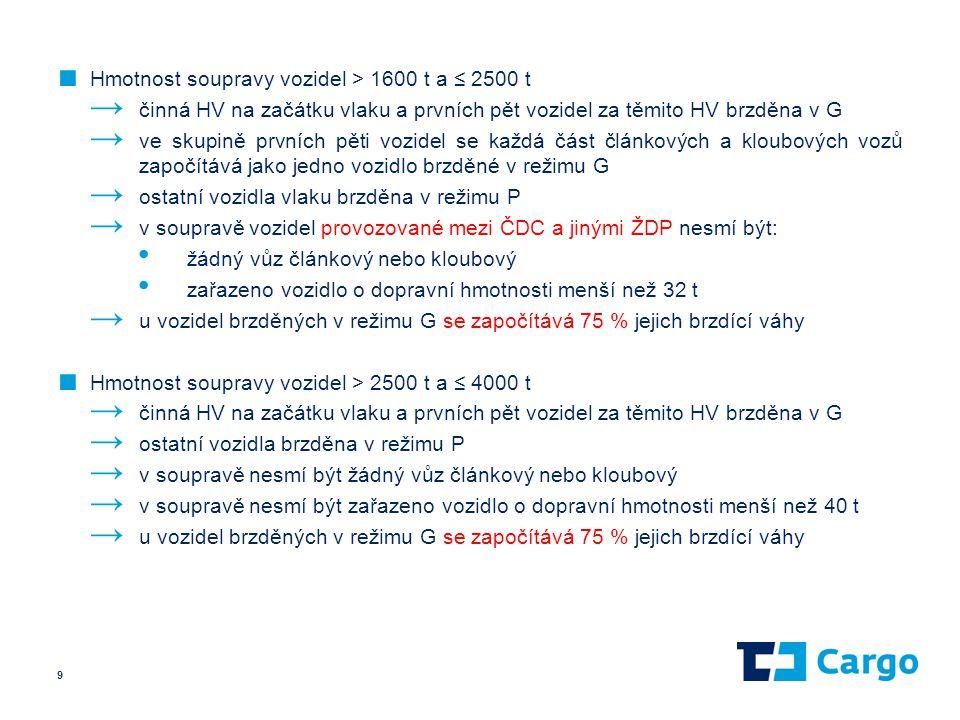 ■ Hmotnost soupravy vozidel > 1600 t a ≤ 2500 t → činná HV na začátku vlaku a prvních pět vozidel za těmito HV brzděna v G → ve skupině prvních pěti v