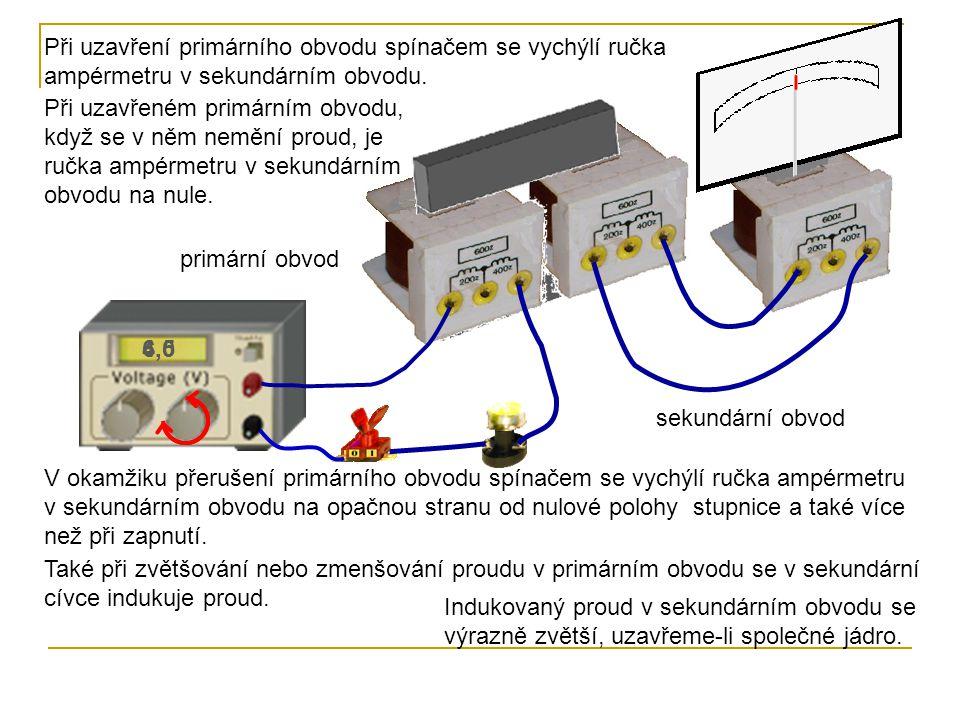 4,56,0 Při uzavření primárního obvodu spínačem se vychýlí ručka ampérmetru v sekundárním obvodu. Při uzavřeném primárním obvodu, když se v něm nemění