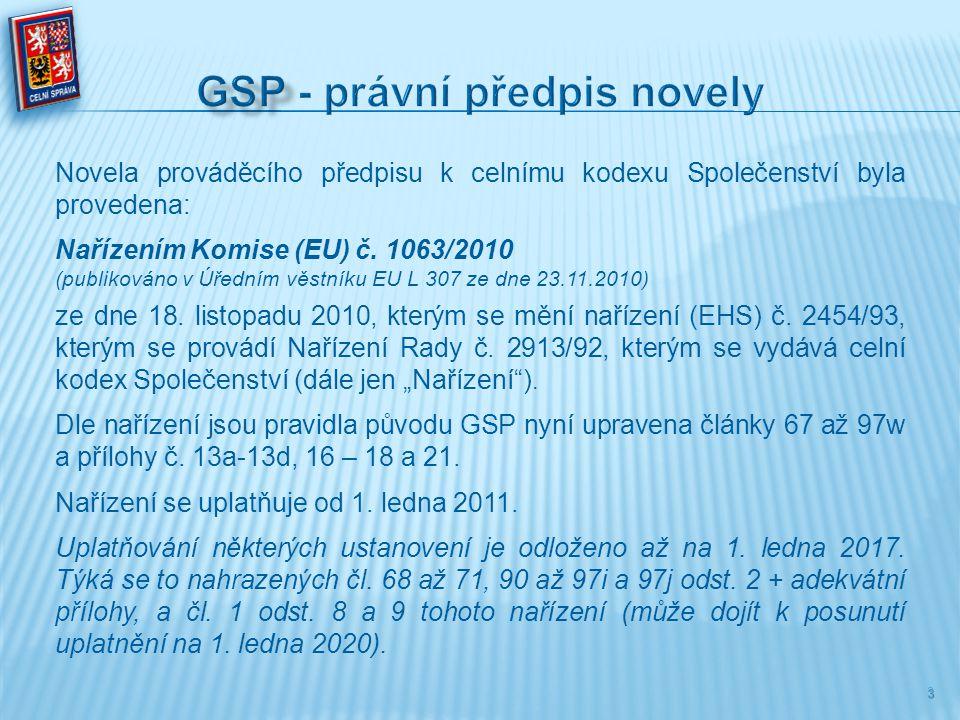 Novela prováděcího předpisu k celnímu kodexu Společenství byla provedena: Nařízením Komise (EU) č. 1063/2010 (publikováno v Úředním věstníku EU L 307