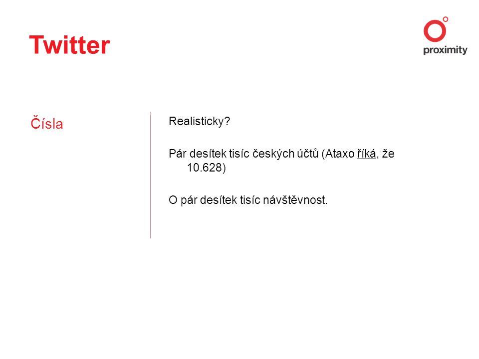 Twitter Čísla Realisticky? Pár desítek tisíc českých účtů (Ataxo říká, že 10.628)říká O pár desítek tisíc návštěvnost.