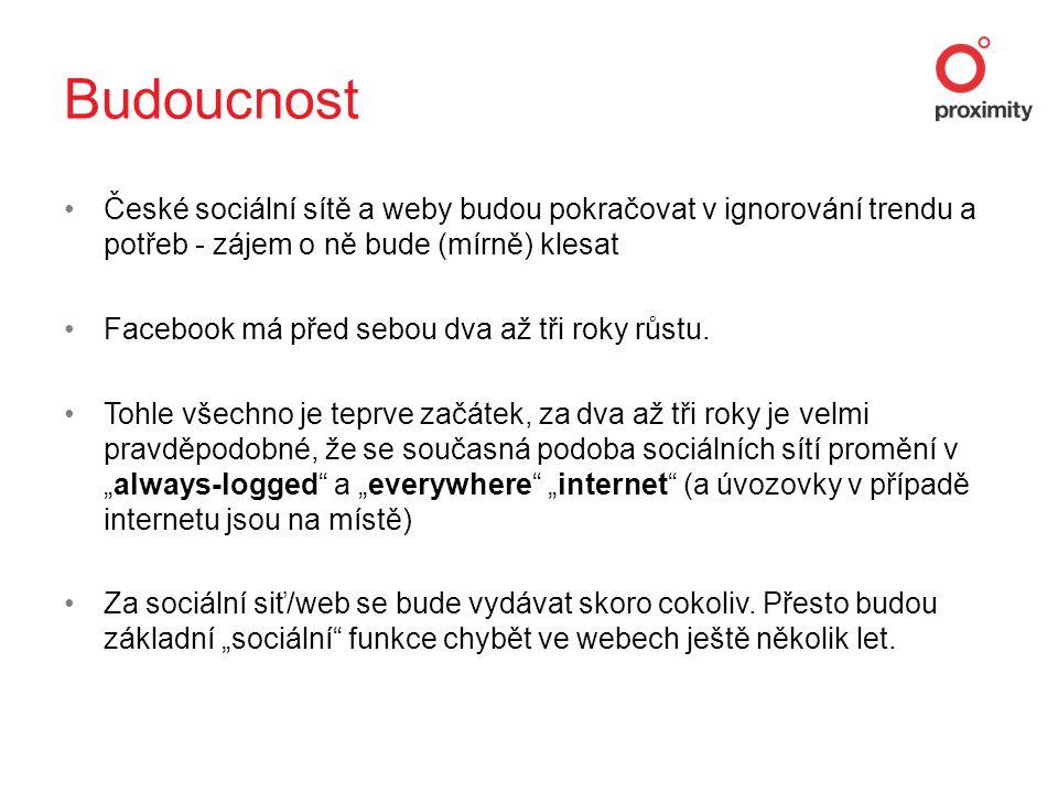 •České sociální sítě a weby budou pokračovat v ignorování trendu a potřeb - zájem o ně bude (mírně) klesat •Facebook má před sebou dva až tři roky růstu.