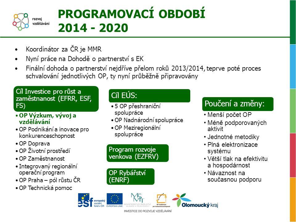 PROGRAMOVACÍ OBDOBÍ 2014 - 2020 •Koordinátor za ČR je MMR •Nyní práce na Dohodě o partnerství s EK •Finální dohoda o partnerství nejdříve přelom roků 2013/2014, teprve poté proces schvalování jednotlivých OP, ty nyní průběžně připravovány Cíl Investice pro růst a zaměstnanost (EFRR, ESF, FS ) •OP Výzkum, vývoj a vzdělávání •OP Podnikání a inovace pro konkurenceschopnost •OP Doprava •OP Životní prostředí •OP Zaměstnanost •Integrovaný regionální operační program •OP Praha – pól růstu ČR •OP Technická pomoc Program rozvoje venkova (EZFRV) OP Rybářství (ENRF) Cíl EÚS: •5 OP přeshraniční spolupráce •OP Nadnárodní spolupráce •OP Meziregionální spolupráce Poučení a změny: •Menší počet OP •Méně podporovaných aktivit •Jednotné metodiky •Plná elektronizace systému •Větší tlak na efektivitu a hospodárnost •Návaznost na současnou podporu