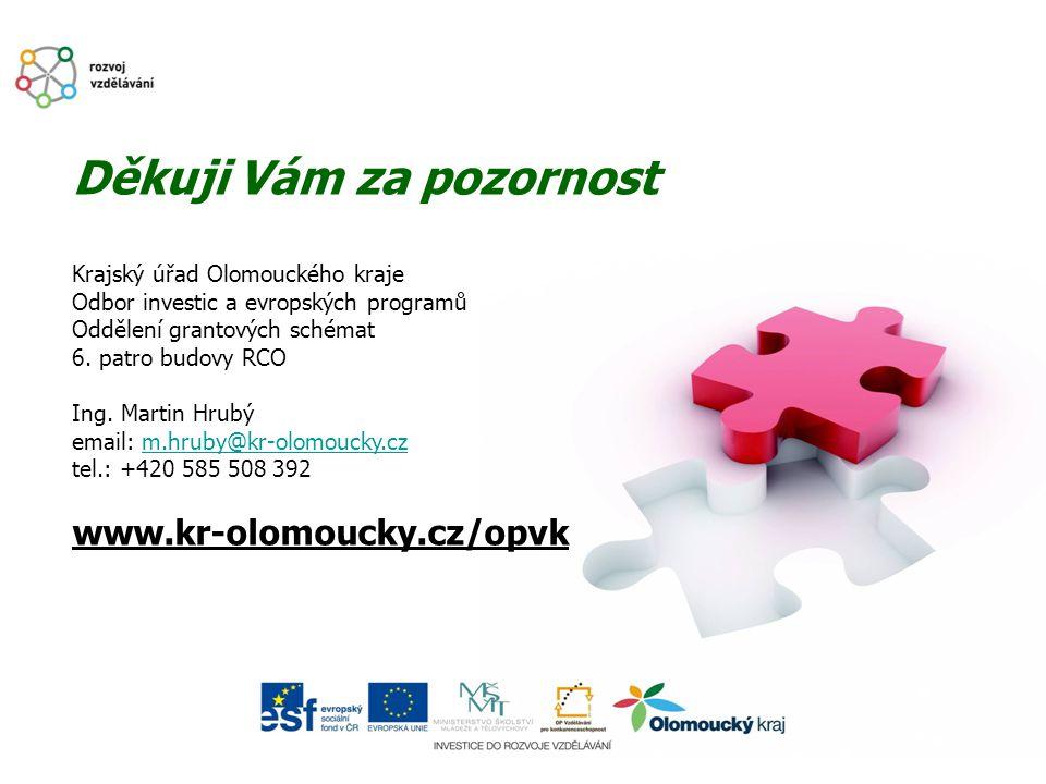 Děkuji Vám za pozornost Krajský úřad Olomouckého kraje Odbor investic a evropských programů Oddělení grantových schémat 6. patro budovy RCO Ing. Marti