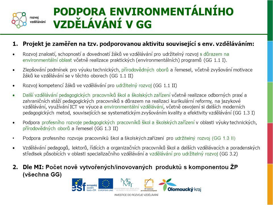 PODPORA ENVIRONMENTÁLNÍHO VZDĚLÁVÁNÍ V GG 1.Projekt je zaměřen na tzv. podporovanou aktivitu související s env. vzděláváním: •Rozvoj znalostí, schopno