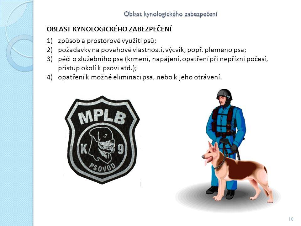 Oblast kynologického zabezpečení 10 OBLAST KYNOLOGICKÉHO ZABEZPEČENÍ 1)způsob a prostorové využití psů; 2)požadavky na povahové vlastnosti, výcvik, popř.