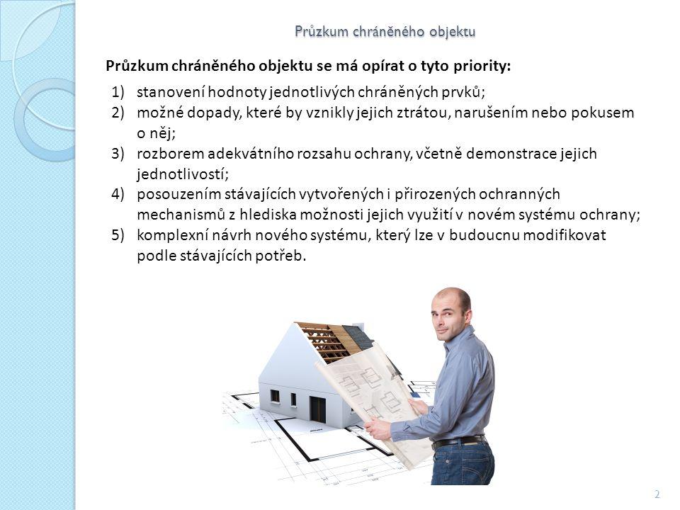 Průzkum chráněného objektu 2 Průzkum chráněného objektu se má opírat o tyto priority: 1)stanovení hodnoty jednotlivých chráněných prvků; 2)možné dopady, které by vznikly jejich ztrátou, narušením nebo pokusem o něj; 3)rozborem adekvátního rozsahu ochrany, včetně demonstrace jejich jednotlivostí; 4)posouzením stávajících vytvořených i přirozených ochranných mechanismů z hlediska možnosti jejich využití v novém systému ochrany; 5)komplexní návrh nového systému, který lze v budoucnu modifikovat podle stávajících potřeb.