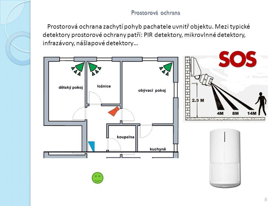 Prostorová ochrana 8 Prostorová ochrana zachytí pohyb pachatele uvnitř objektu.