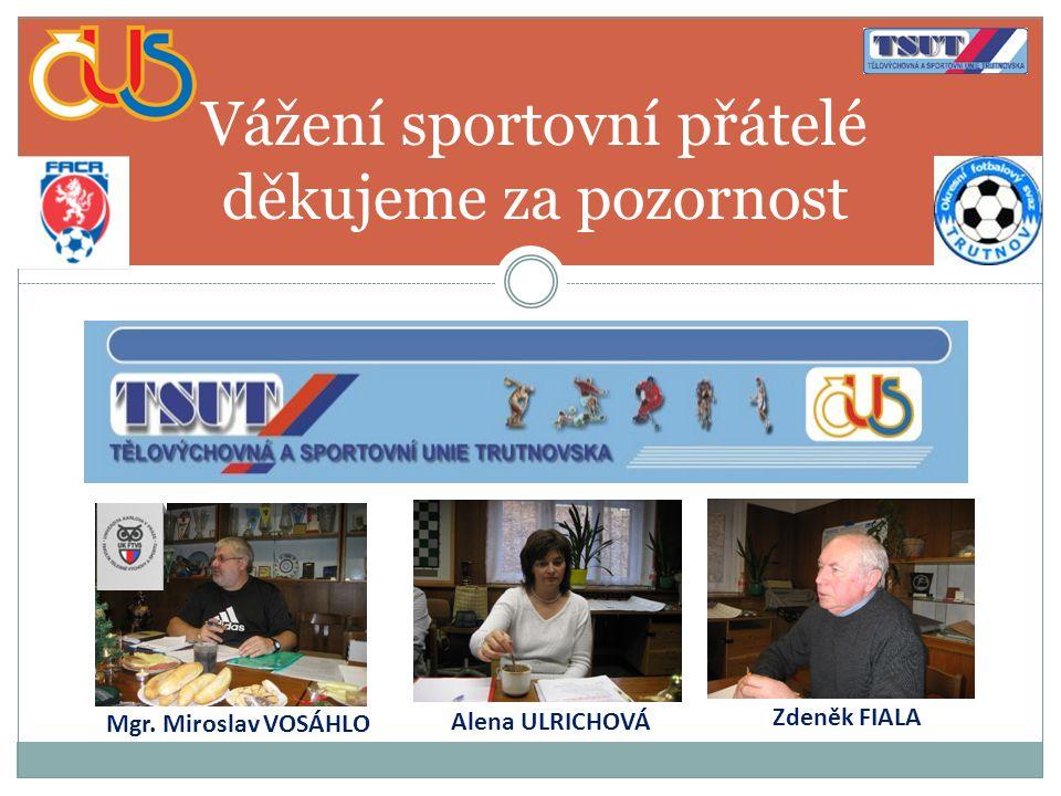 Vážení sportovní přátelé děkujeme za pozornost Zdeněk FIALA Alena ULRICHOVÁ Mgr. Miroslav VOSÁHLO
