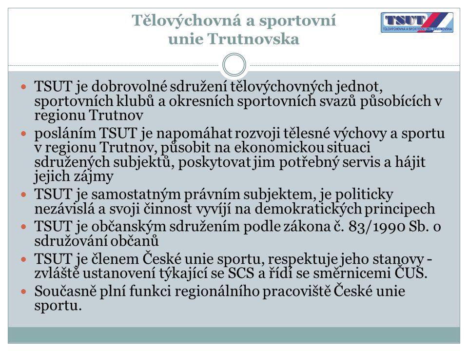 Tělovýchovná a sportovní unie Trutnovska  TSUT je dobrovolné sdružení tělovýchovných jednot, sportovních klubů a okresních sportovních svazů působící