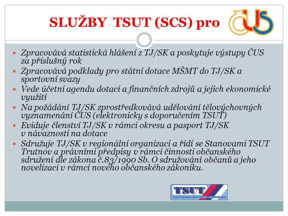 SLUŽBY TSUT (SCS) pro  Zpracovává statistická hlášení z TJ/SK a poskytuje výstupy ČUS za příslušný rok  Zpracovává podklady pro státní dotace MŠMT d