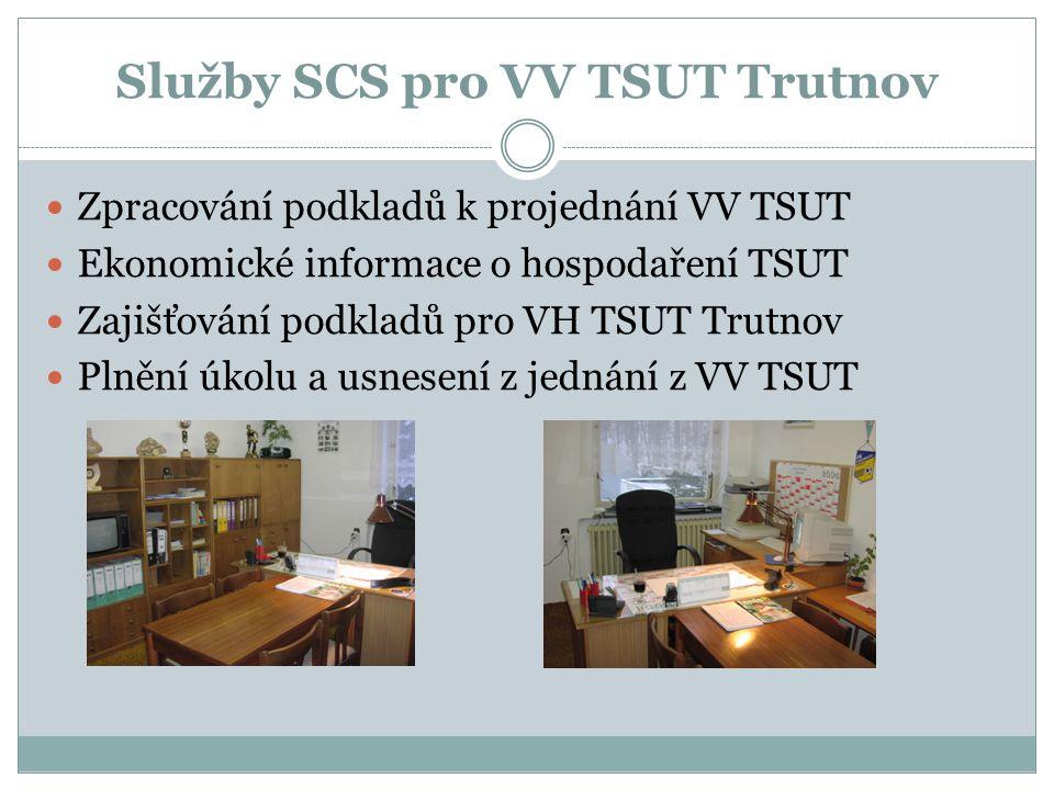 Služby SCS pro VV TSUT Trutnov  Zpracování podkladů k projednání VV TSUT  Ekonomické informace o hospodaření TSUT  Zajišťování podkladů pro VH TSUT