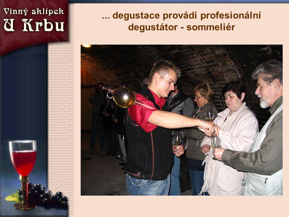 ... degustace provádí profesionální degustátor - sommeliér