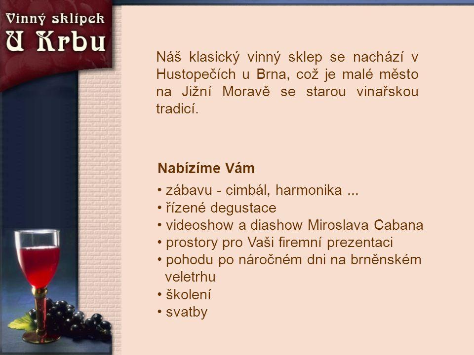 Náš klasický vinný sklep se nachází v Hustopečích u Brna, což je malé město na Jižní Moravě se starou vinařskou tradicí. Nabízíme Vám • zábavu - cimbá