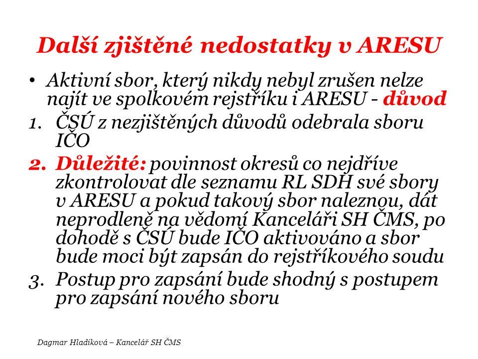 Další zjištěné nedostatky v ARESU • Aktivní sbor, který nikdy nebyl zrušen nelze najít ve spolkovém rejstříku i ARESU - důvod 1.ČSÚ z nezjištěných dův