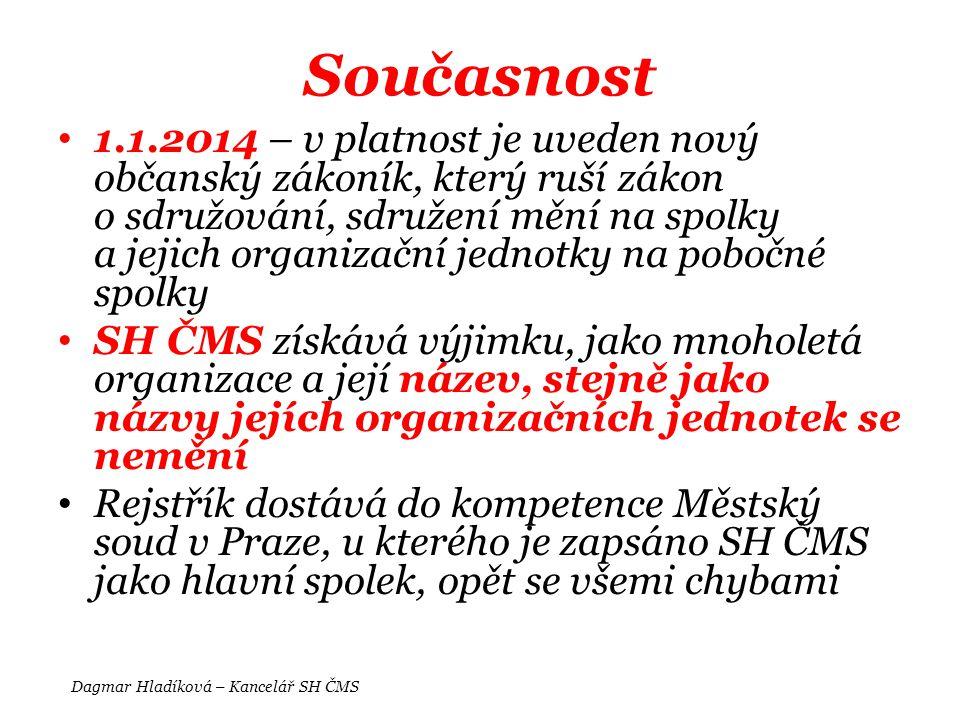 Současnost • 1.1.2014 – v platnost je uveden nový občanský zákoník, který ruší zákon o sdružování, sdružení mění na spolky a jejich organizační jednot
