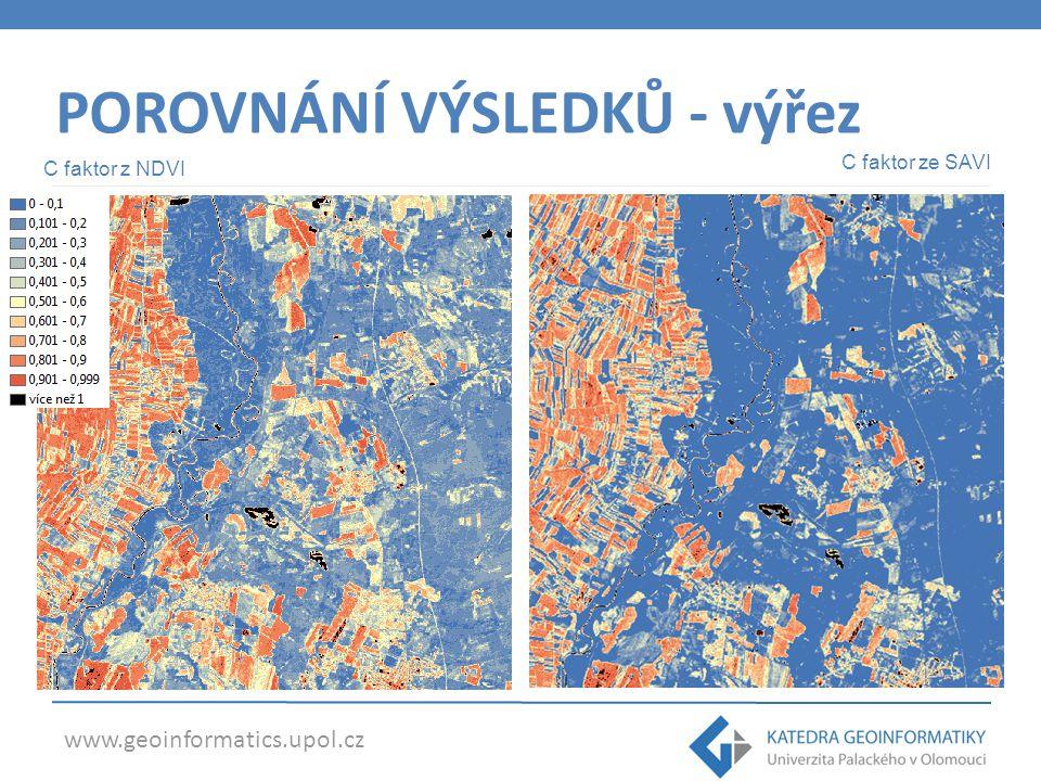 www.geoinformatics.upol.cz POROVNÁNÍ VÝSLEDKŮ - výřez C faktor z NDVI C faktor ze SAVI