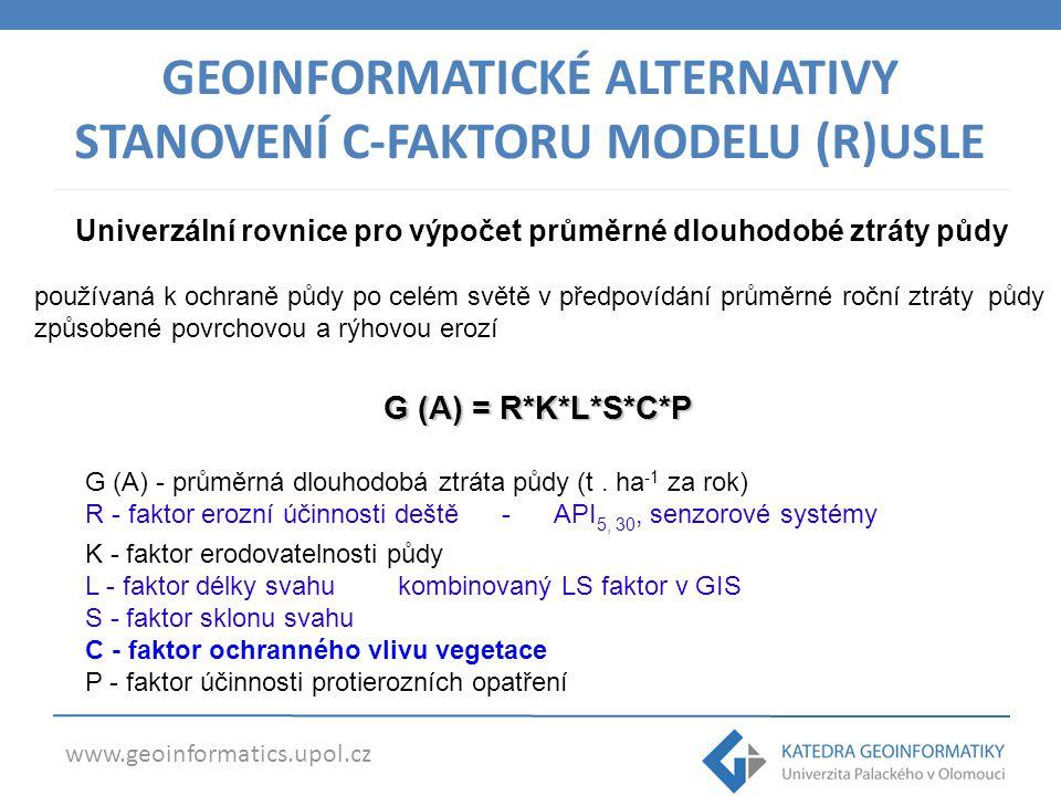 www.geoinformatics.upol.cz GEOINFORMATICKÉ ALTERNATIVY STANOVENÍ C-FAKTORU MODELU (R)USLE G (A) = R*K*L*S*C*P G (A) - průměrná dlouhodobá ztráta půdy