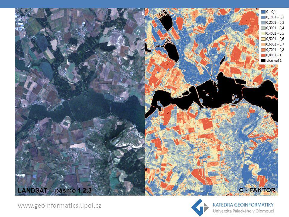 www.geoinformatics.upol.cz SAVI - Soil Adjusted Vegetation Index M.Kefi a K.Yoshino Landsat 5 TM – 4,3,2 Vizuální průzkum pokrytí vegetací Raster calculator Model Maker L = korekční faktor, hodnota 0 (pokrytí více než 90% snímku vegetací) -> 1 (při méně než 10% pokrytí vegetací)