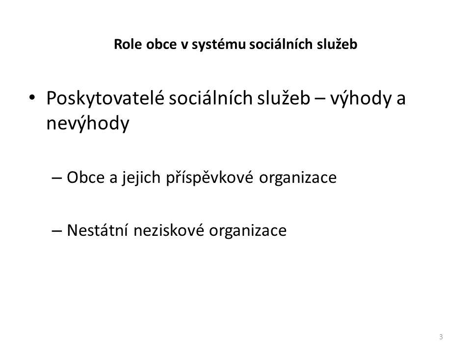 Role obce v systému sociálních služeb • Poskytovatelé sociálních služeb – výhody a nevýhody – Obce a jejich příspěvkové organizace – Nestátní neziskové organizace 3