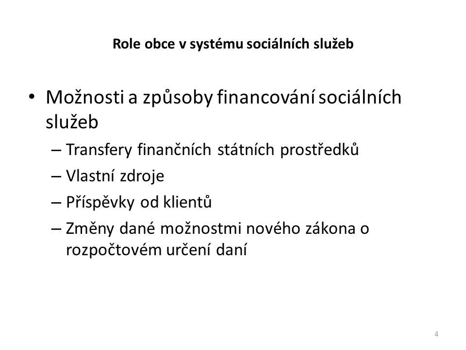 Role obce v systému sociálních služeb • Možnosti a způsoby financování sociálních služeb – Transfery finančních státních prostředků – Vlastní zdroje – Příspěvky od klientů – Změny dané možnostmi nového zákona o rozpočtovém určení daní 4