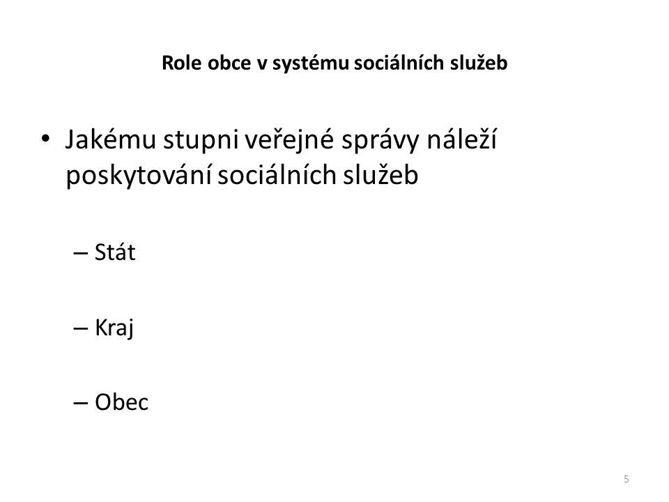 Role obce v systému sociálních služeb • Jakému stupni veřejné správy náleží poskytování sociálních služeb – Stát – Kraj – Obec 5