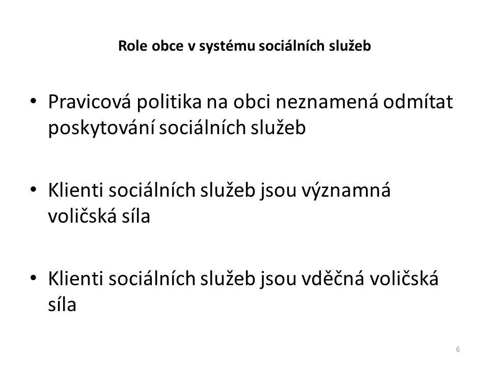 Role obce v systému sociálních služeb • Pravicová politika na obci neznamená odmítat poskytování sociálních služeb • Klienti sociálních služeb jsou významná voličská síla • Klienti sociálních služeb jsou vděčná voličská síla 6