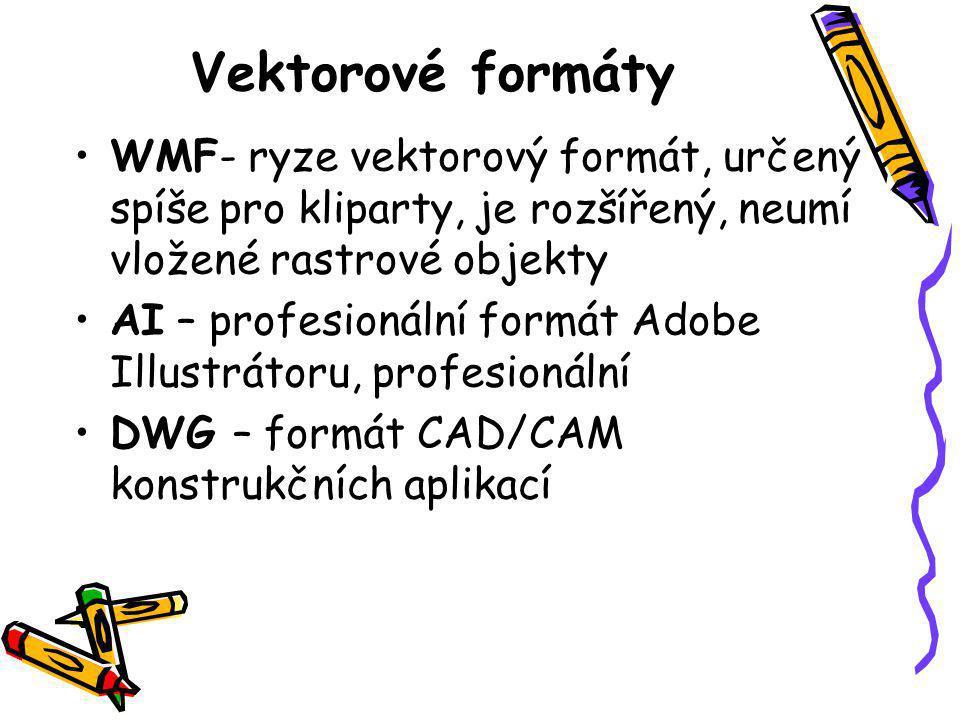 Vektorové formáty •WMF- ryze vektorový formát, určený spíše pro kliparty, je rozšířený, neumí vložené rastrové objekty •AI – profesionální formát Adobe Illustrátoru, profesionální •DWG – formát CAD/CAM konstrukčních aplikací