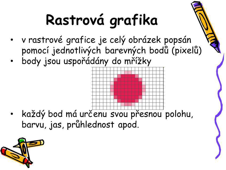 • v rastrové grafice je celý obrázek popsán pomocí jednotlivých barevných bodů (pixelů) • body jsou uspořádány do mřížky • každý bod má určenu svou přesnou polohu, barvu, jas, průhlednost apod.