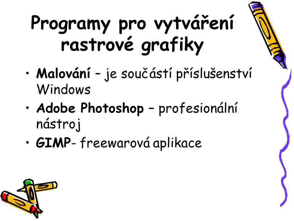 Programy pro vytváření rastrové grafiky •Malování – je součástí příslušenství Windows •Adobe Photoshop – profesionální nástroj •GIMP- freewarová aplikace