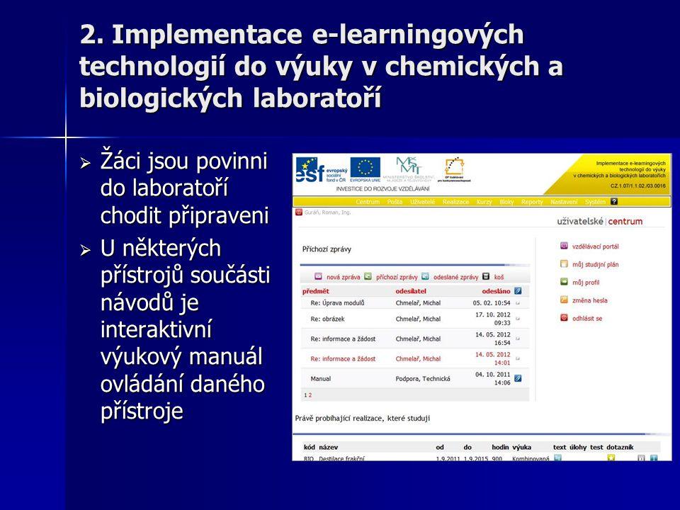 2. Implementace e-learningových technologií do výuky v chemických a biologických laboratoří  Žáci jsou povinni do laboratoří chodit připraveni  U ně