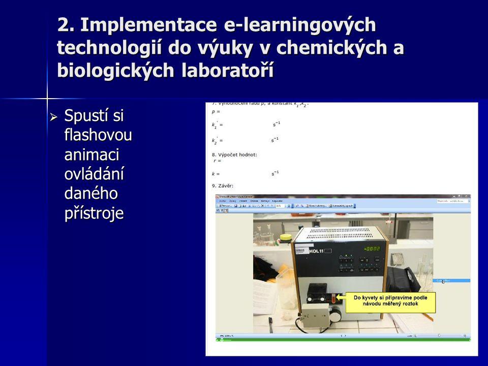  Spustí si flashovou animaci ovládání daného přístroje 2. Implementace e-learningových technologií do výuky v chemických a biologických laboratoří