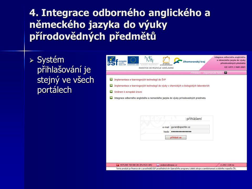 4. Integrace odborného anglického a německého jazyka do výuky přírodovědných předmětů  Systém přihlašování je stejný ve všech portálech